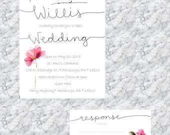 Simple wedding invitation printable