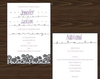 Modern style wedding invitation printable