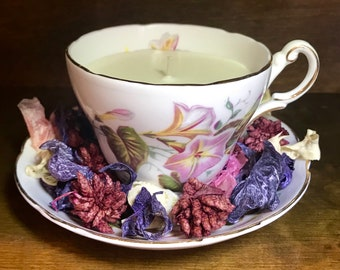 Grosvenor Bone China Teacup Candle & Saucer Lavender Scented