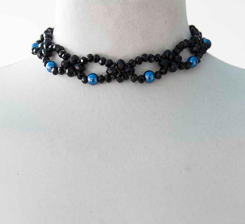 Gothic Choker Discrete Black Blue Choker Glamour Necklace Elegant Choker Rock Necklace Gothic Bride Choker