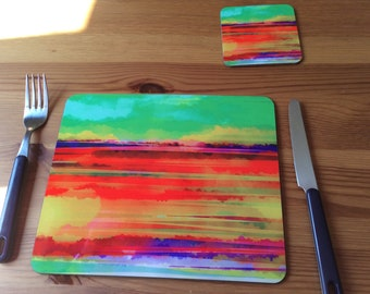 Placemat with a contemporary abstract print from original art work