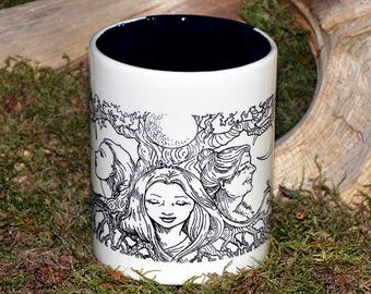 16 oz Maiden, Mother, Crone Hand-Painted Mug - Cup, Brew, Witch, Wicca, Pagan, Coffee, Tea, Cocoa, Witch's Brew