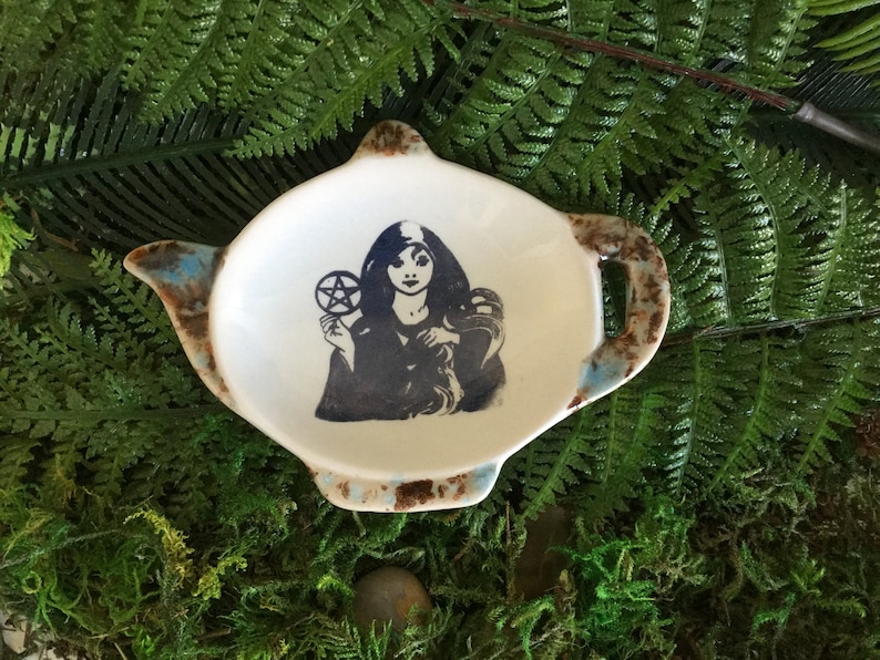 Wicca Kitchen, Magick Wiccan Kitchen Witch and Pentacle Tea Bag or Teaspoon Holder Handmade ceramic Witch