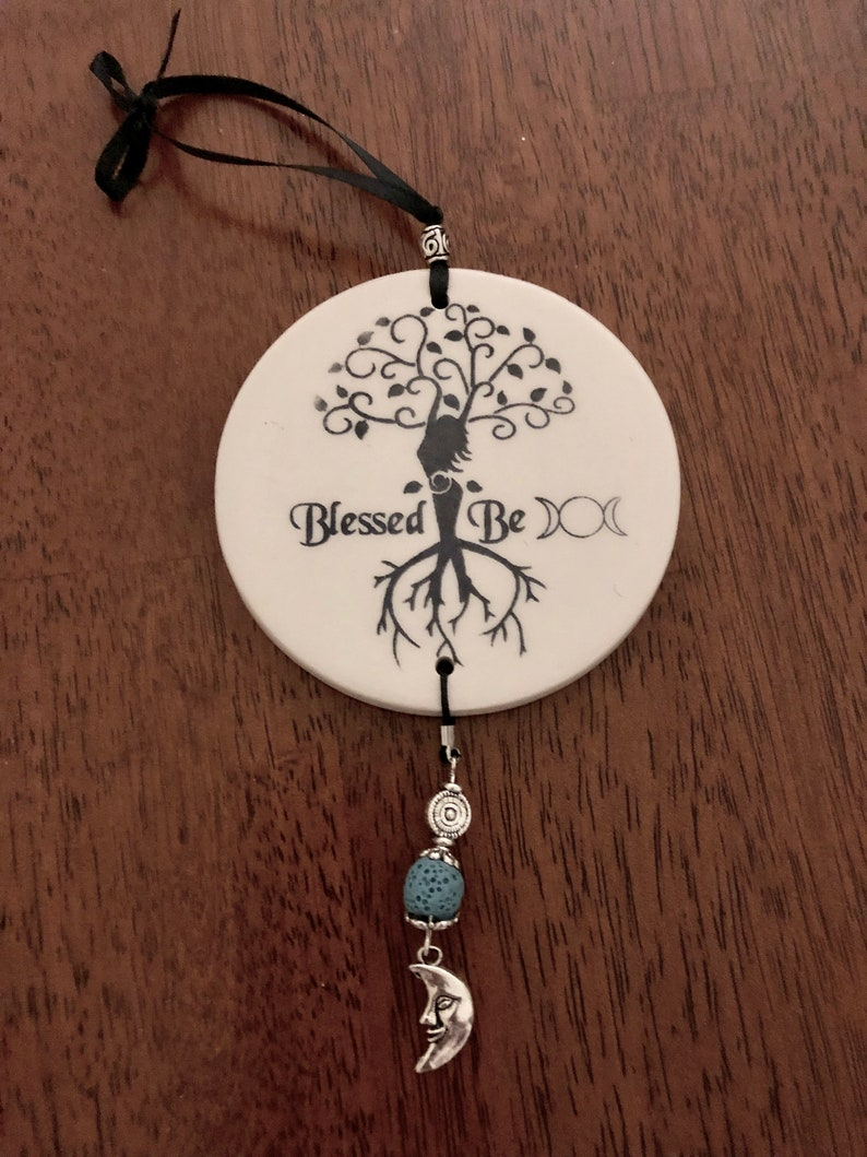 Scented Saying Witch Sign with Essential Oil Lava Bead & Silver Alloy  Charm, Essential Oils, Tile, Plaque, Wiccan, Wicca, Pagan, Witchcraft