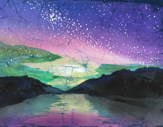Aurora Print  Original Artwork Suitable For All Occasions Northern Lights Batik Print Notecard with Envelope single