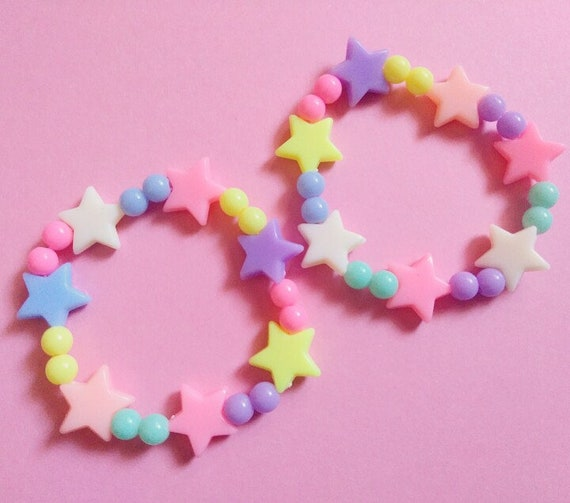 Pastel Fairy Kei Plastic Star Bead Bracelet Kawaii Japanese Harajuku Fashion