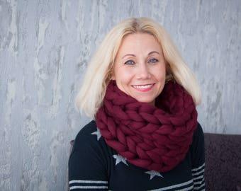 Knitted Scarf, Snood, handmade, 100% Merino Wool