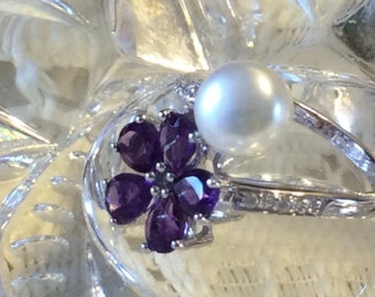 4.69 Carat Genuine Pearl Amethyst and White Zircon .925 Sterling Silver