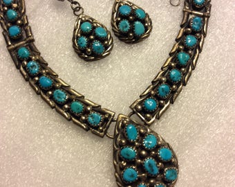 Genuine Turquoise and Sterling Necklace And Earrings.