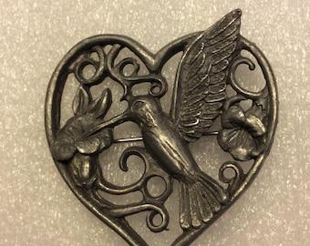 Spoon Metal Hummingbird Brooch