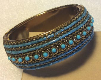 Faux Turquoise Beaded Clamper Bracelet