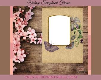 Vintage Digital Floral Butterfly Frame, Scrapbook, Printable, Collage Sheet, Background, Digital Paper