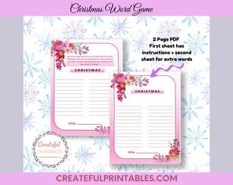Christmas Word Game, Printable Christmas Family Game, Holiday Game, Christmas Game, Digital Printable