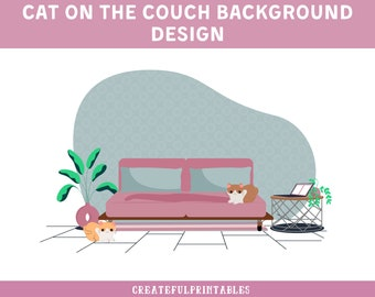 Cat on the Couch| Background| Design| PNG Image
