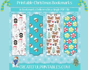 Christmas Printable Bookmarks| Holidays| Xmas