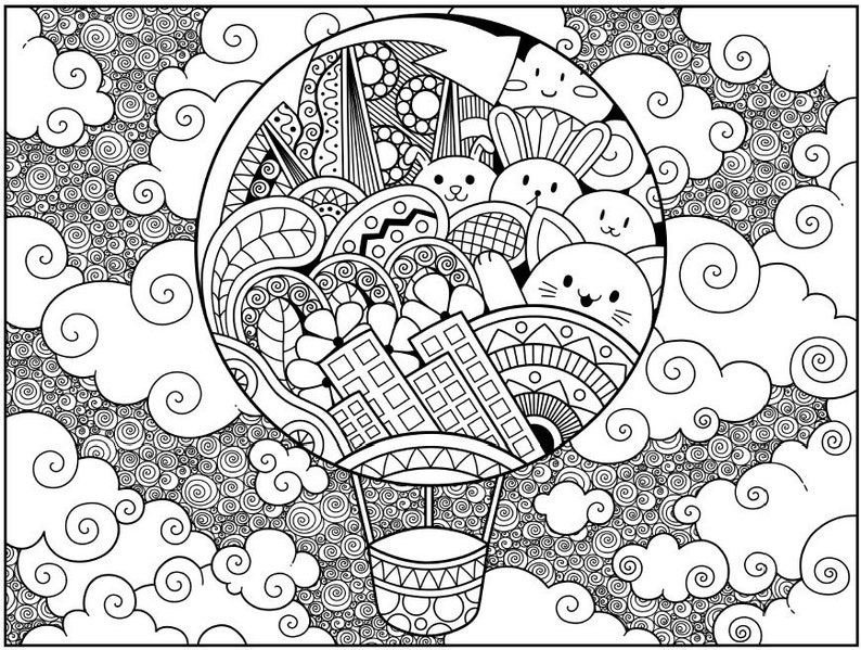 Adult Coloring Pages Flowers & Fun | Etsy