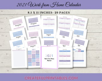 2021 Work from Home Planner| Printable| Template Notebook Vision Board Elements| Finance Goals