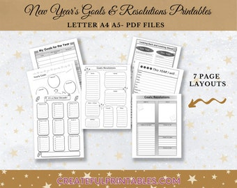 Goals and Resolutions Printables| 7 Page PDF| New Year| Affirmations| Vision Board Elements Worksheet