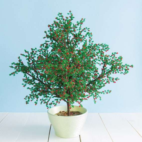 Artificial Bonsai Tree Red Apple Beaded Tree Wire French Etsy