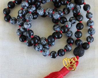 Root Chakra Snowflake Obsidian Mala necklace - Reiki activated - 108 bead mala - meditation - yoga