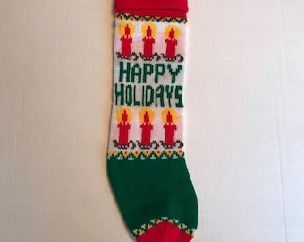 Happy Holidays Christmas Knit Stocking
