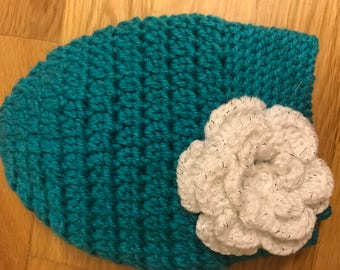 Teal messy Bun Hat with White Sparkle Flower