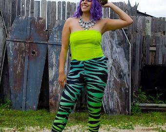 Cyber Zebra spandex leggings // Unique Rave Clothes //  Active Dance wear