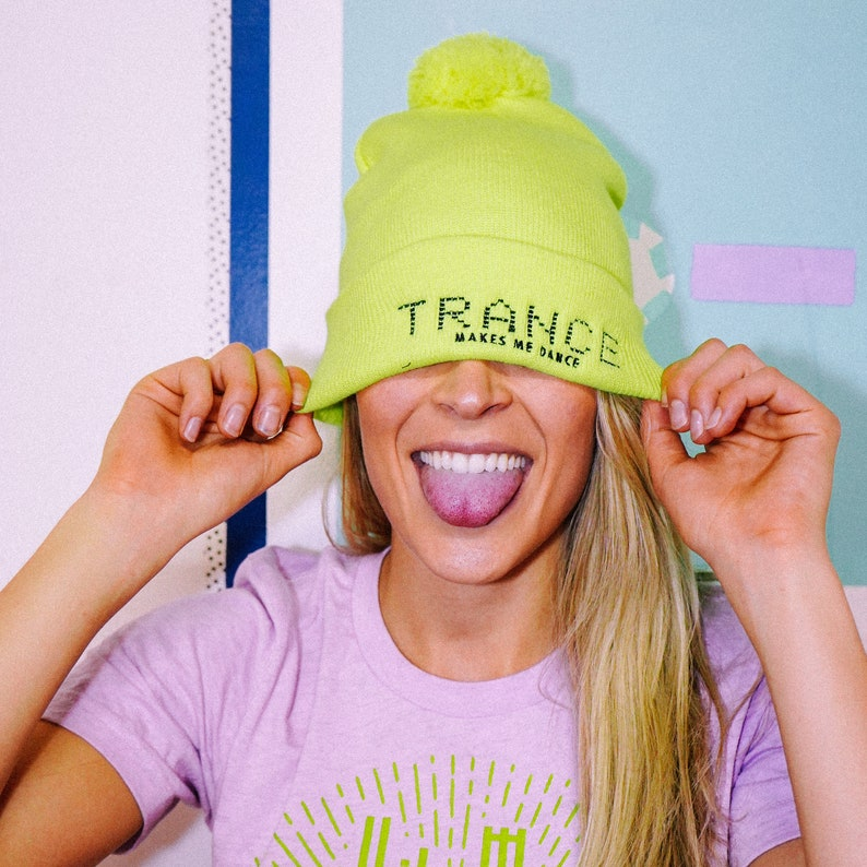Trance Music Beanie // Cyber Green // Rave Music // Pom Pom Hat // Gifts  for Him // Gifts for Her // EDM Gifts