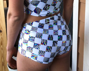 Trippy Checkmate Booty Shorts // festival rave clothes // two piece set available