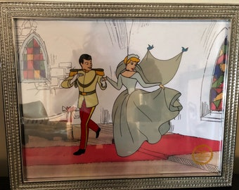 This is a GENUINE Original Limited Edition Serigraph Cel of The Wedding of CINDERELLA and the PRINCE from the 1950 Walt Disney Studios