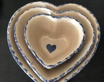 Beautiful J Brown Set of 3 Heart Ceramic Nesting Bowls