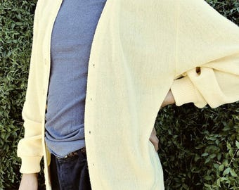 1950s yellow vintage mens cardigan