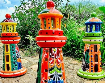 """11"""" Mexican Talavera Lighthouse Sconce or Candle Holder *Colors & Designs Vary!"""