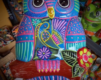 5 in Beautiful Mexican Talavera Hanging Owl QTY 1 *Colors /& Designs Vary!