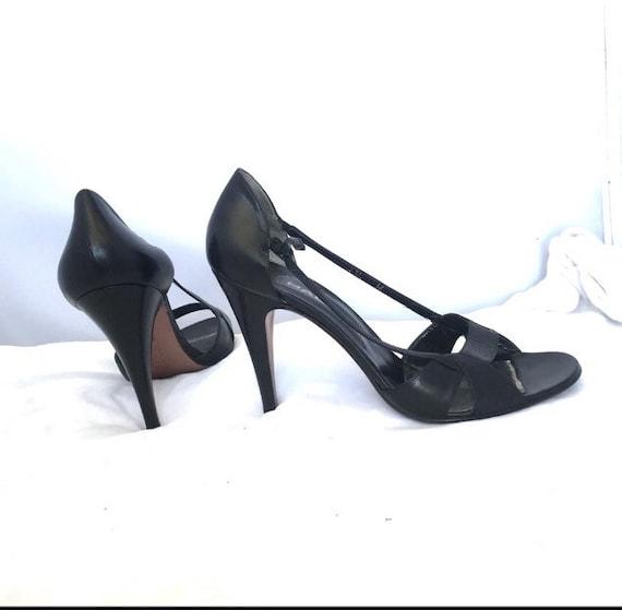 Halston Vintage Open Toe High Heel Leather Shoes - image 5