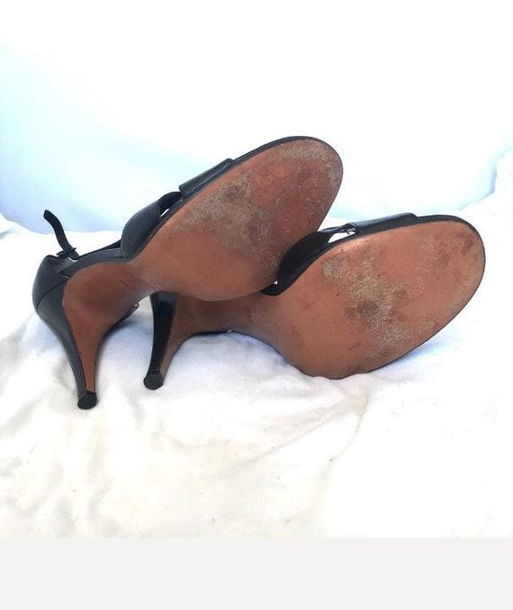 Halston Vintage Open Toe High Heel Leather Shoes - image 2