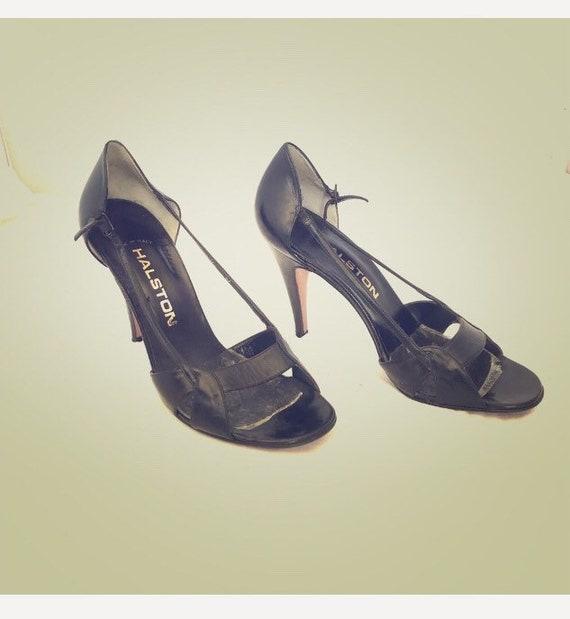 Halston Vintage Open Toe High Heel Leather Shoes - image 6