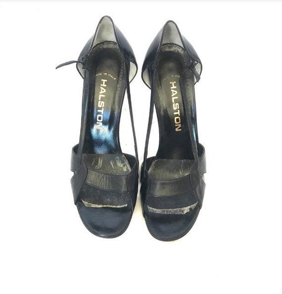Halston Vintage Open Toe High Heel Leather Shoes - image 3