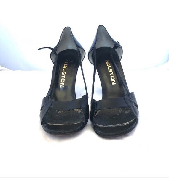 Halston Vintage Open Toe High Heel Leather Shoes - image 4