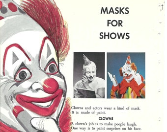 Circus Clown Vintage Childrens Illustration Page from Old Book Childcraft -  Decor Crafting