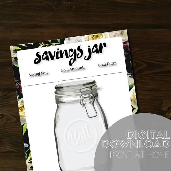 Savings Jar Insert PDF, Printable Savings Jar, Mason Jar Insert, Mason Jar  Savings, Printable, Happy Planner Insert, Classic Happy Planner