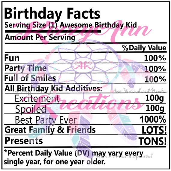 Kid Facts Nutritional Facts Svg Cut File Birthday Cricut
