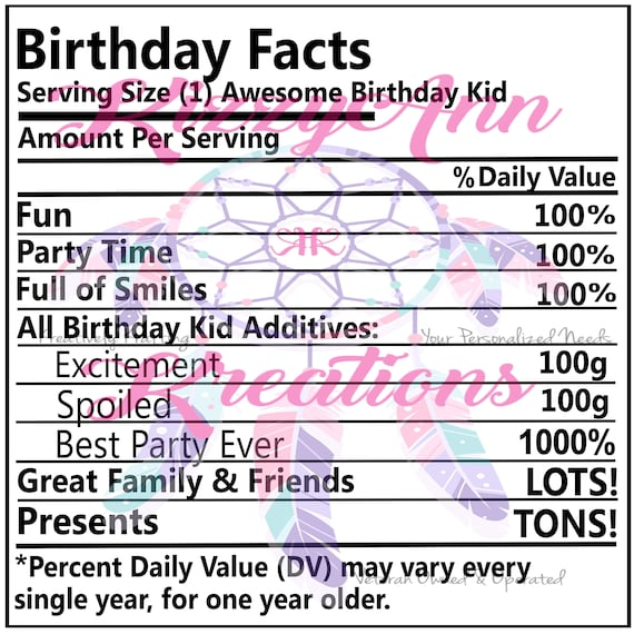 Kid Facts Nutritional Facts Svg Cut File Birthday Cricut Etsy