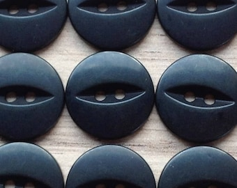 FISH EYE BUTTONS - Black (various sizes)