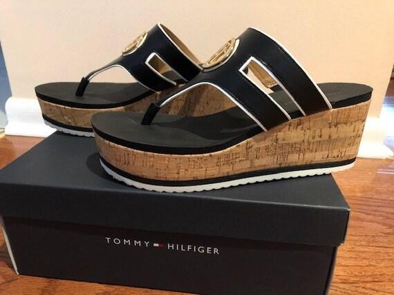 5002266edbaf Tommy Hilfiger Women s Galley Cork Wedge Sandals. Black.