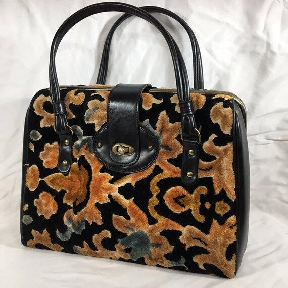 Vintage Floral Double Handle Tapestry Carpet Bag,