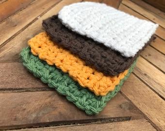 Crocheted Coasters - Harvest Set of 4