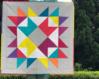 "Quilt Pattern ""Happy Ribbon Star"" - Three sizes - Pillow 20"" x 20"" Baby Quilt 40"" x 40"" Throw 60"" x 60""."