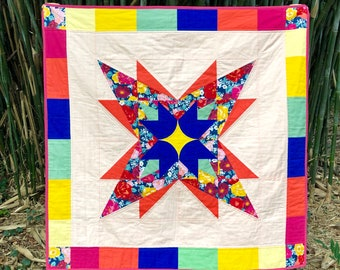 """Quilt Pattern """"Canopus Star"""" - Baby Quilt Size (46"""" x 46"""") and Wall Hanging Size (32"""" x 32""""). PDF file. Modern Quilt Pattern"""