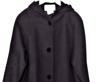 Jacqueline Ferrar Coat Long Black Wool With Velvet Trim Attached Hood Size 12